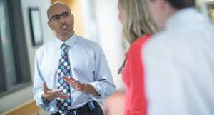 Dr. Ravi Jhaveri, an infectious disease specialist at the University of North Carolina at Chapel Hill School of Medicine, talks to parents.